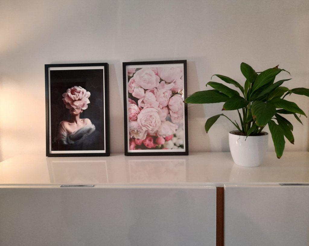 Plakaty grafika z kobietą i Piwonie na ścianę do salonu