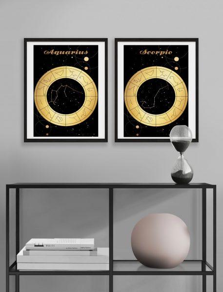 Wodnik Aquarius Skorpion Scorpio znak zodiaku plakat grafika