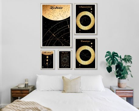 Wodnik Aquarius Taurus Byk znak zodiaku plakat grafika Moon Księżyc słońce Sun Mapa nieba Universe