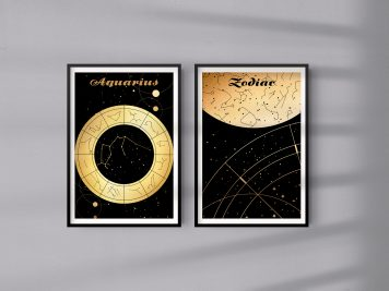 Wodnik Aquarius znak zodiaku plakat grafika Mapa nieba Universe