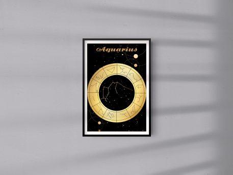 Aquarius Wodnik Zodiak Zodiac Plakat Grafika
