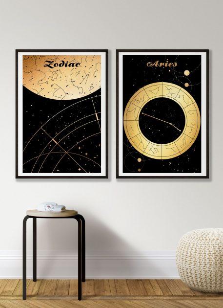 Aries Baran znak zodiaku plakat grafika