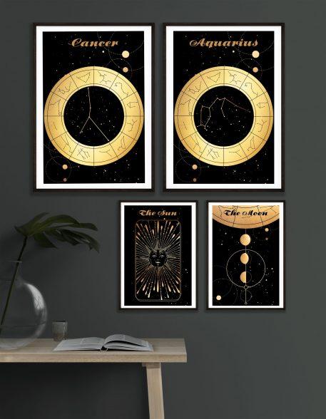 Moon Księżyc Słońce Sun Wodnik Aquarius Cancer Byk znak zodiaku plakat grafika