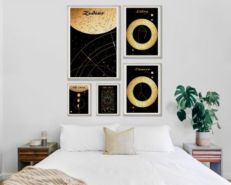 Moon Księżyc Słońce Sun Universe Mapa nieba Libra Waga Cancer Rak znak zodiaku plakat grafika