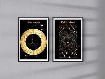Rak Cancer znak zodiaku plakat grafika przedpokój Sun Słońce
