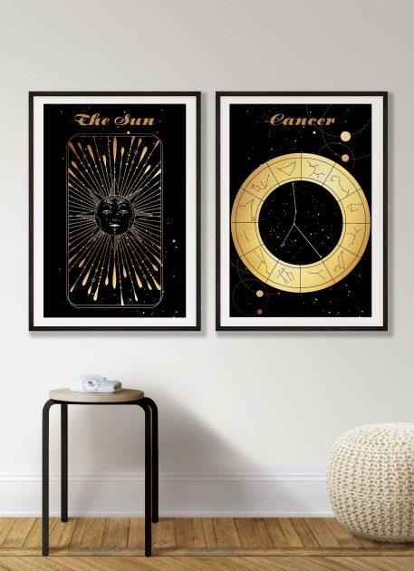 Rak Cancer znak zodiaku plakat grafika Sun Słońce
