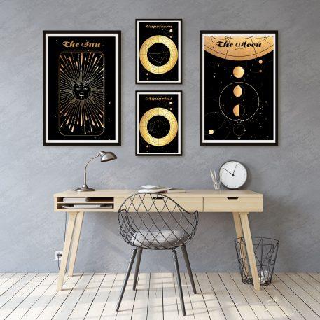 Moon Księżyc Słońce Sun Aquarius Wodnik Capricorn Koziorożec znak zodiaku plakat grafika
