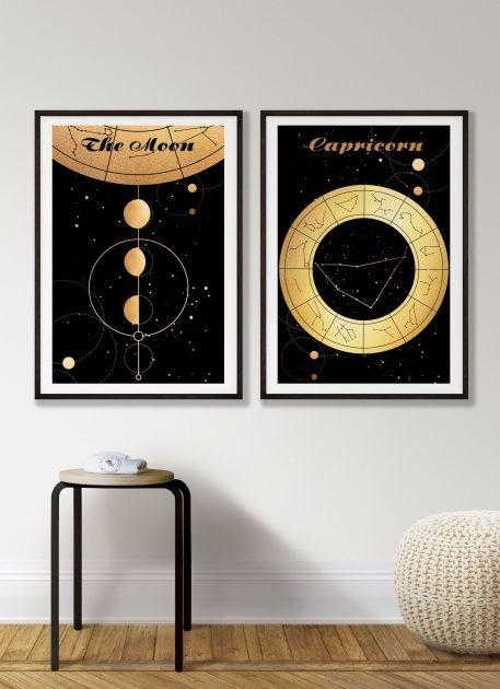 Capricorn Koziorożec znak zodiaku plakat grafika Moon Księżyc