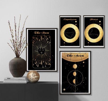 Capricorn Koziorożec Pisces Ryby znak zodiaku plakat grafika Moon Księżyc Słońce Sun