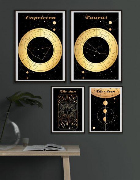 Capricorn Koziorożec Taurus Byk Moon Księżyc słońce Sun znak zodiaku plakat grafika