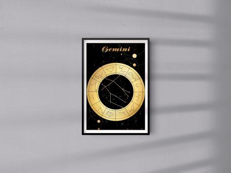 Gemini Bliźniaki znak zodiaku plakat grafika