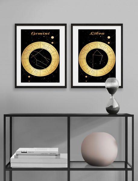 Gemini Bliźniaki Libra Waga znak zodiaku plakat grafika