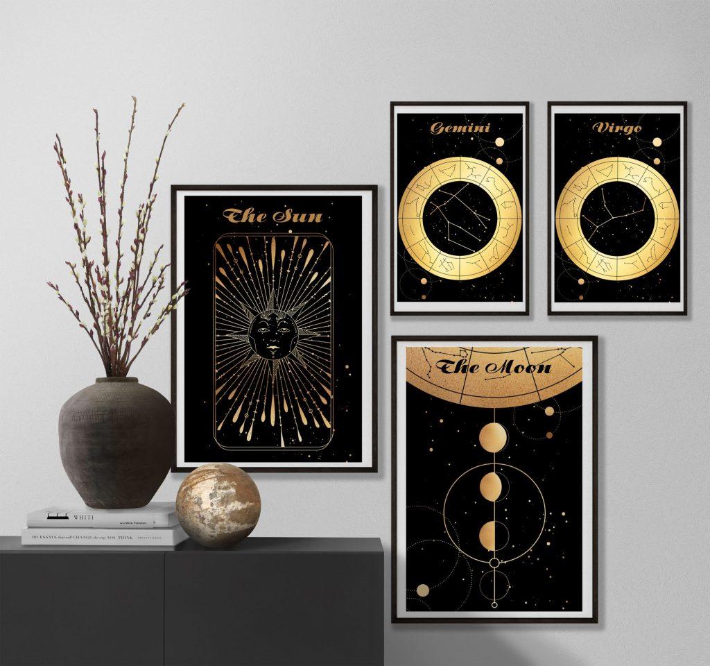Gemini Bliźniaki Panna Virgo znak zodiaku plakat grafiki Moon Księżyc Słońce Sun