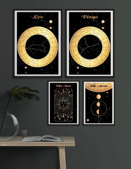 Leo Lew Virgo Panna znak zodiaku plakat grafika przedpokój