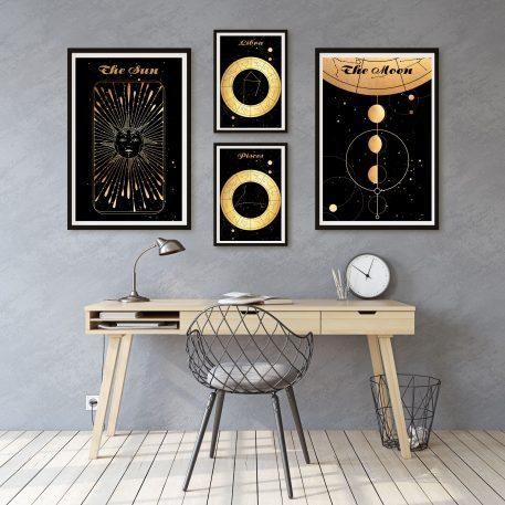 Libra Waga Pisces Ryby znak zodiaku plakat grafika Moon Księżyc słońce Sun