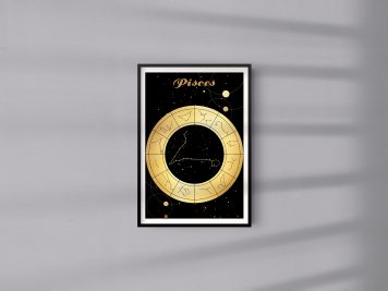 Pisces Ryby znak zodiaku plakat grafika