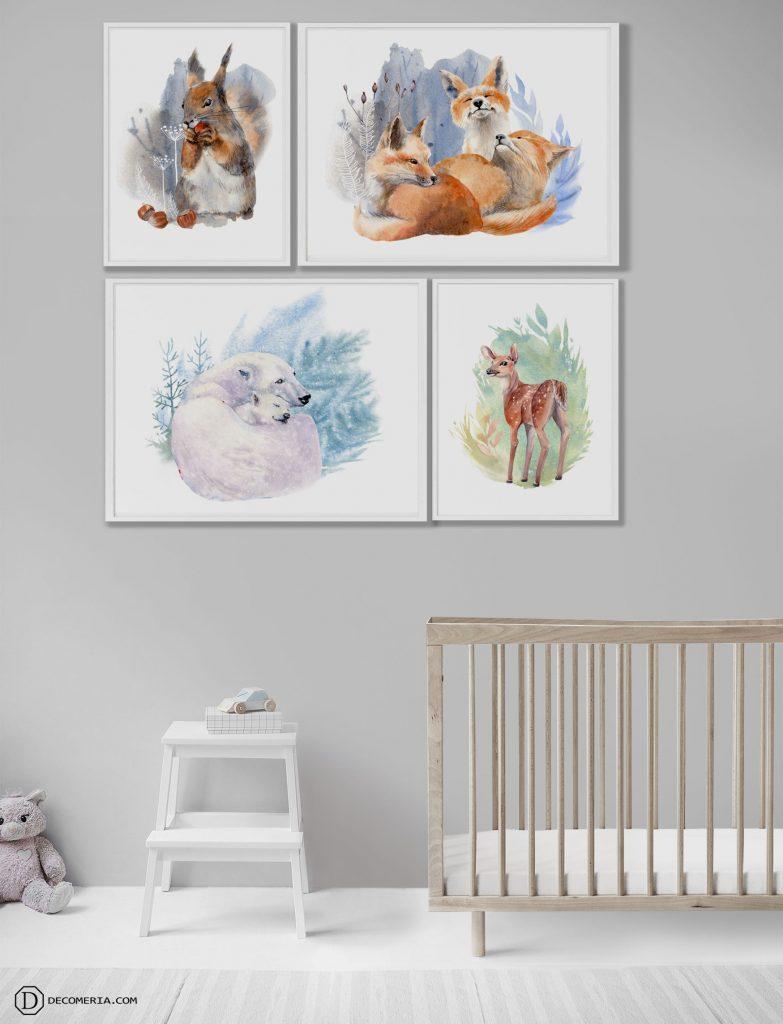 plakat obraz grafiki dla dzieci miś polarny