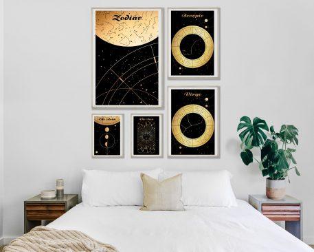 Skorpion Scorpio Virgo Panna znak zodiaku plakat grafika Moon Księżyc słońce Sun