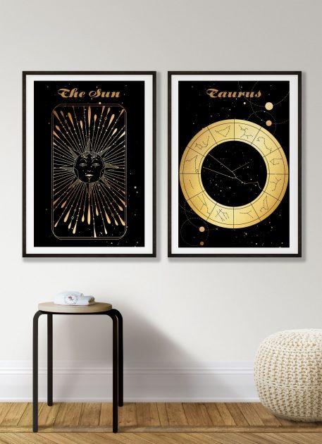 Taurus Byk znak zodiaku plakat grafika Sun Słońce