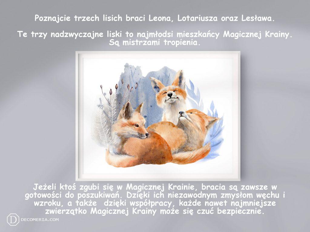 pokój dziecięcy pokój dziecinny obrazki plakaty grafiki akwarele lis