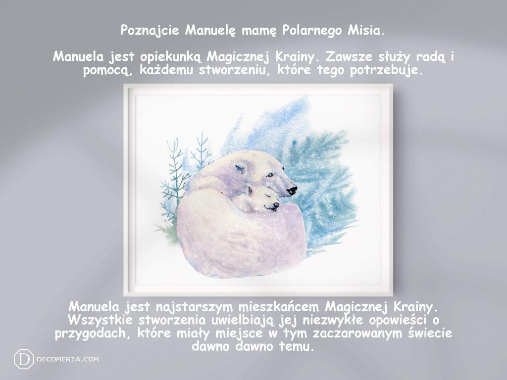 pokój dziecięcy pokój dziecinny obrazki plakaty grafiki akwarele niedźwiedź polarny
