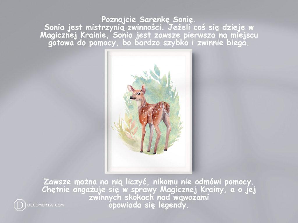 pokój dziecięcy pokój dziecinny obrazki plakaty grafiki akwarele sarna jeleń