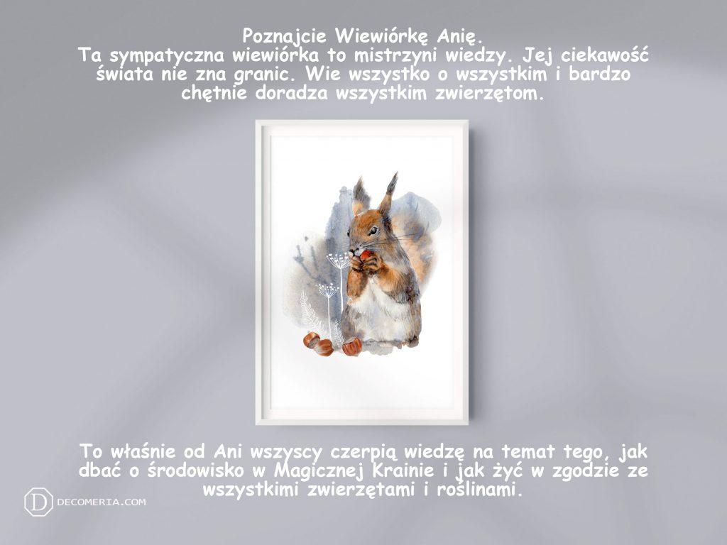 pokój dziecięcy pokój dziecinny obrazki plakaty grafiki akwarele wiewiórka